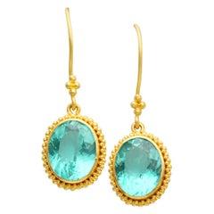 Steven Battelle Apatite Drop Earrings 22k Gold