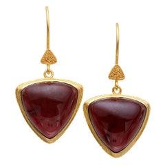 Steven Battelle Pink Tourmaline 22k Gold Drop Earrings