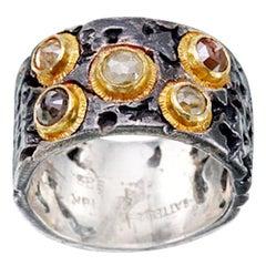 Steven Battelle Rough Diamonds Oxidized Sterling 18K Gold Ring