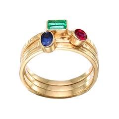 Steven Battelle Stacking Ring Ruby Emerald Sapphire 18k Gold
