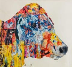 "Cow, Watercolour on Paper by Indian Contemporary Artist ""In Stock"""