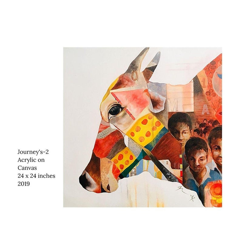 "Steven Gandhi Animal Painting - Journey's-2, Acrylic on Canvas by Indian Contemporary Artist ""In Stock"""