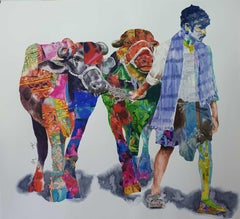 """Journey's 2, Village Man & Cows, Watercolor Painting, Bands of colors """"In Stock"""""""