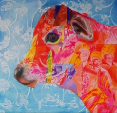 "Journeys, Animal Painting, Oil on canvas, Red,Blue, Pink,Yellow, Brown""In Stock"""