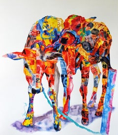 "Journey's, Cows, Watercolor on Paper by Indian Contemporary Artist ""In Stock"""