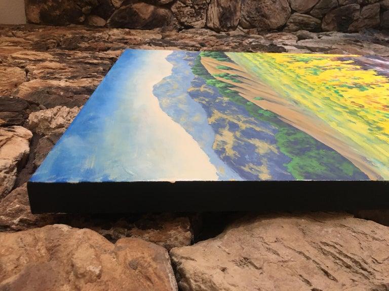 Autumn Vineyard, Oil Painting - Brown Landscape Painting by Steven Guy Bilodeau