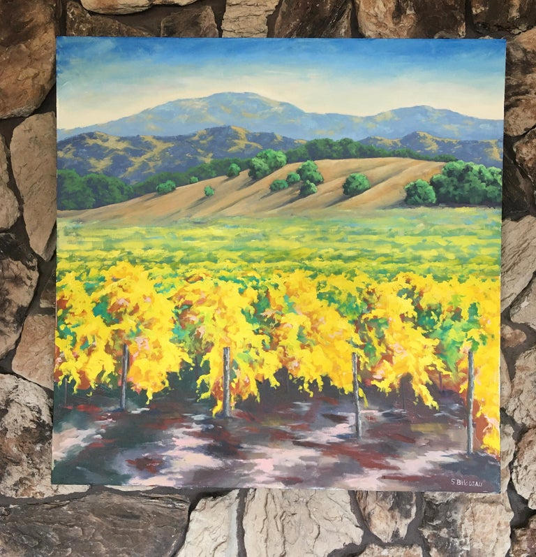 <p>Artist Comments<br />A view of California wine country in autumn. The vines are just starting to change from green to yellow. In the distance, rolling golden hills lead the eye to the horizon.</p><br /><p>About the Artist<br />Steven Guy Bilodeau