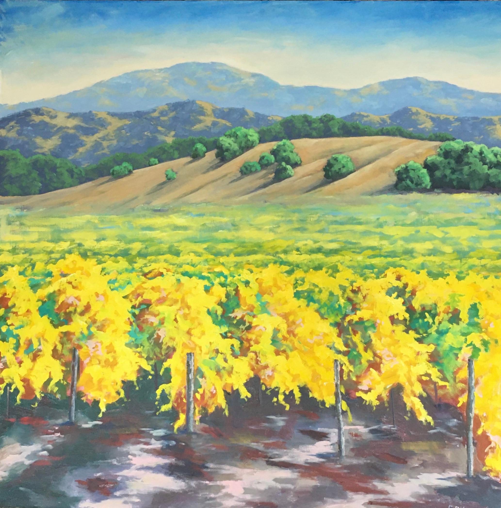 Autumn Vineyard, Oil Painting