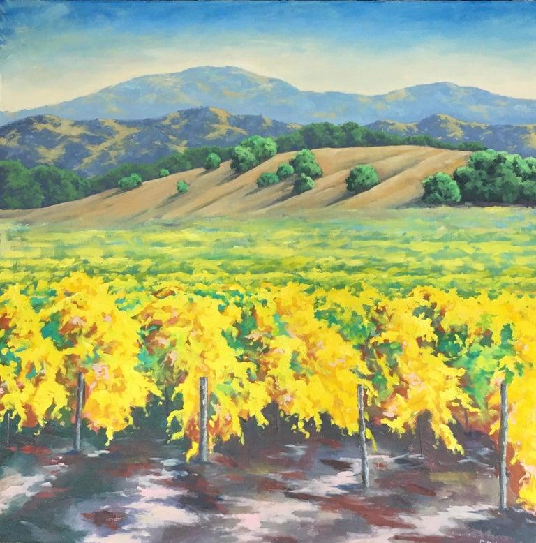 Steven Guy Bilodeau Landscape Painting - Autumn Vineyard, Oil Painting