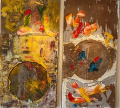 """""""Sea of Love #2"""" mixed media abstract 4ft x 8ft each panel"""