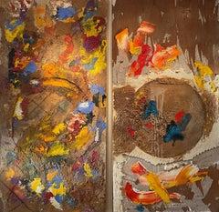 """""""Sea of Love"""" Oil saw dust foam on wood 8ft x 8ft by Steven"""