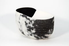 Borealis - black and white, nature inspired, elongated, ceramic, tabletop vessel
