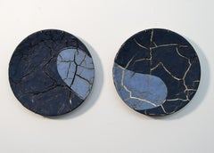TP No 1 - blue, textured, pair, ceramic, wall mounted circular sculpture