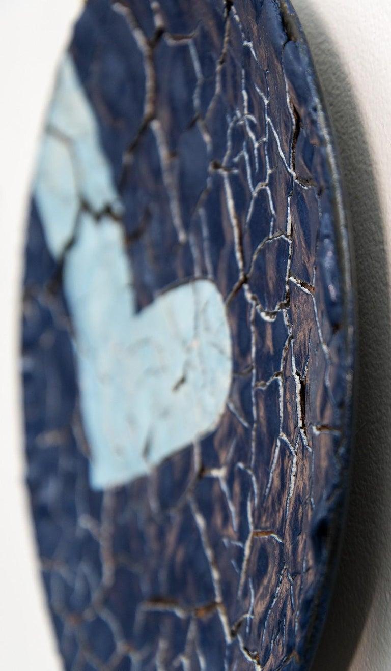 TP No 2 - blue, textured, ceramic, wall mounted circular sculpture - Gray Abstract Sculpture by Steven Heinemann
