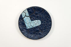 TP No 2 - blue, textured, ceramic, wall mounted circular sculpture