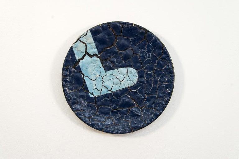 Steven Heinemann Abstract Sculpture - TP No 2 - blue, textured, ceramic, wall mounted circular sculpture