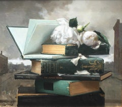 Books and Peonies