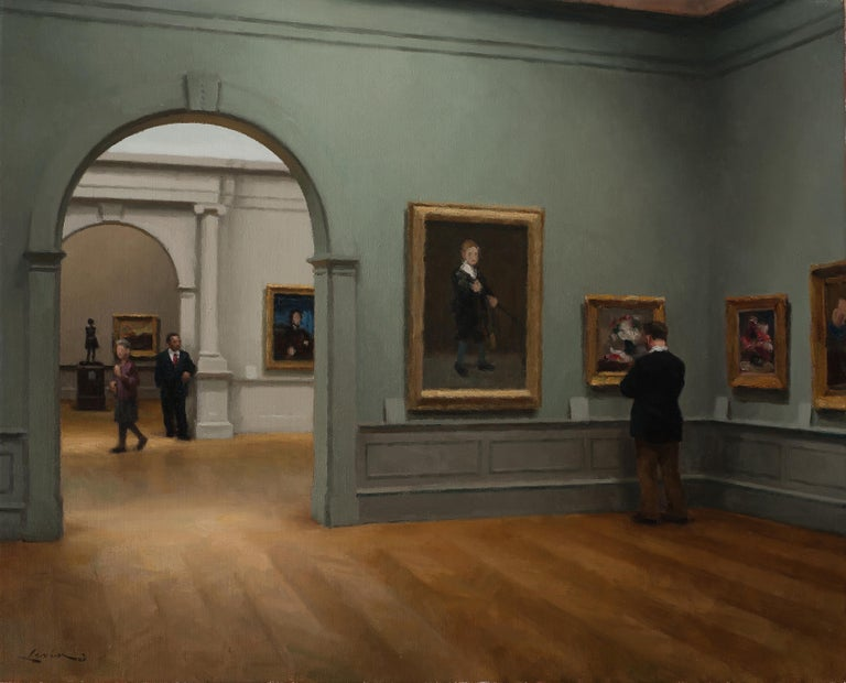 Met Museum, Impressionist Room - Painting by Steven J. Levin