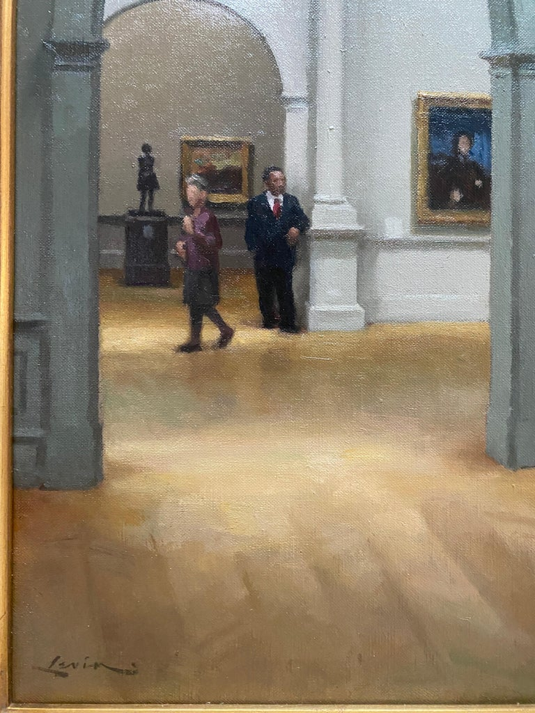 Met Museum, Impressionist Room - American Realist Painting by Steven J. Levin