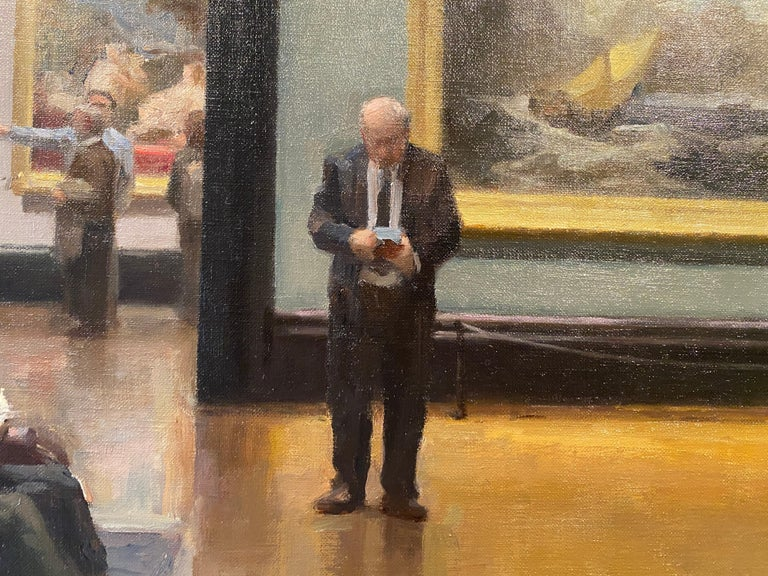 An oil painting of the interior of The National Gallery museum in London. A multi-figure composition, of people inside a grand room filled with some of the worlds most famous paintings, including John Constable's 1821 painting