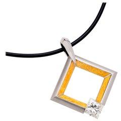 Steven Kretchmer Large 24K and Platinum Square Pendant with Tension-Set Diamond