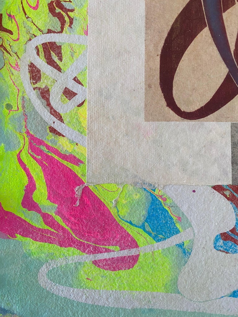 American Artist Handmade Multi Colored Paper With Collage Steven Sorman  For Sale 1