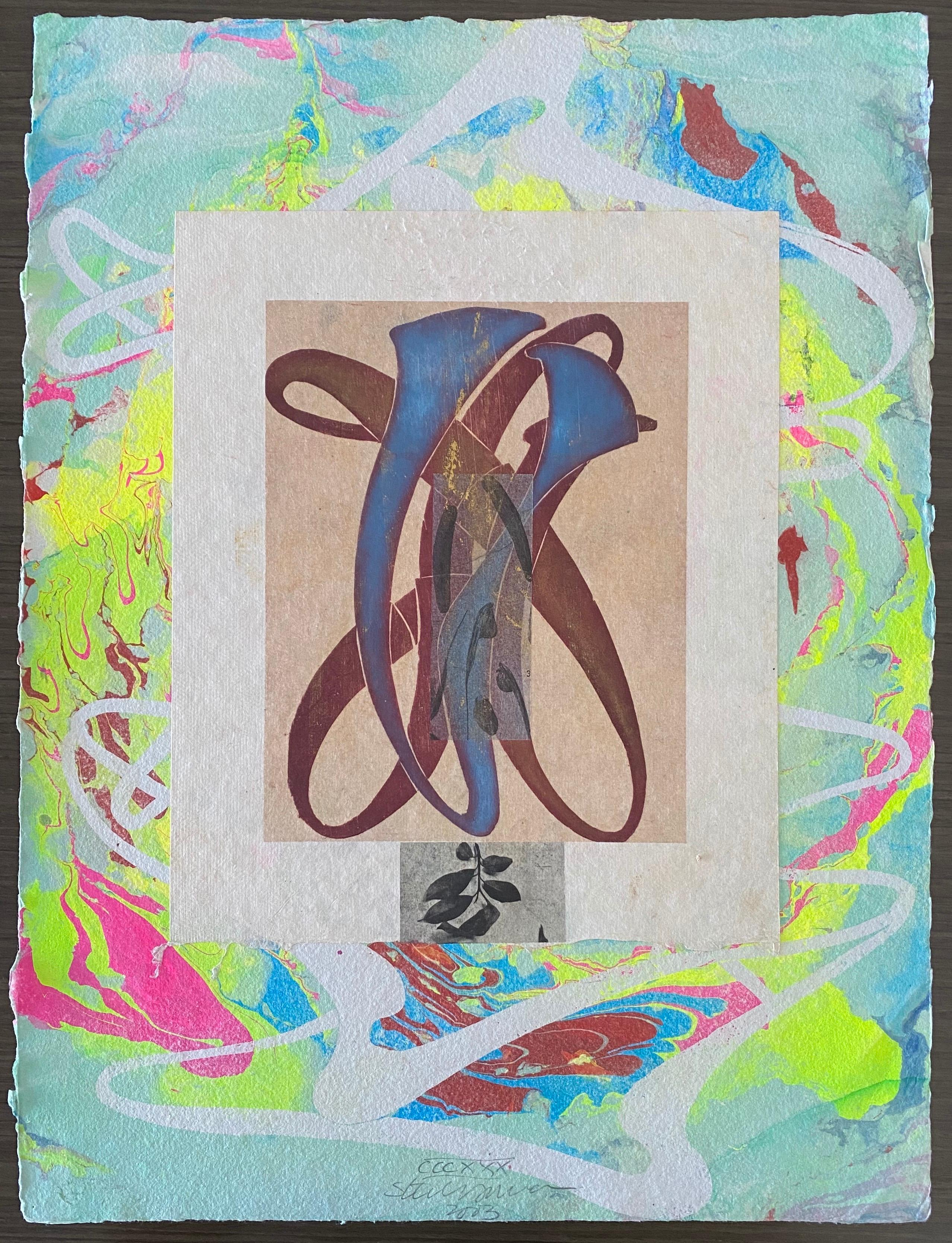 American Artist Handmade Multi Colored Paper With Collage Steven Sorman