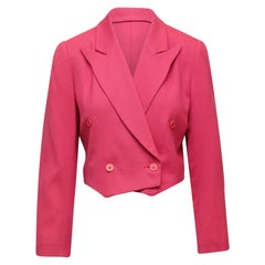 Steven Sprouse Pink Double-Breasted Cropped Blazer