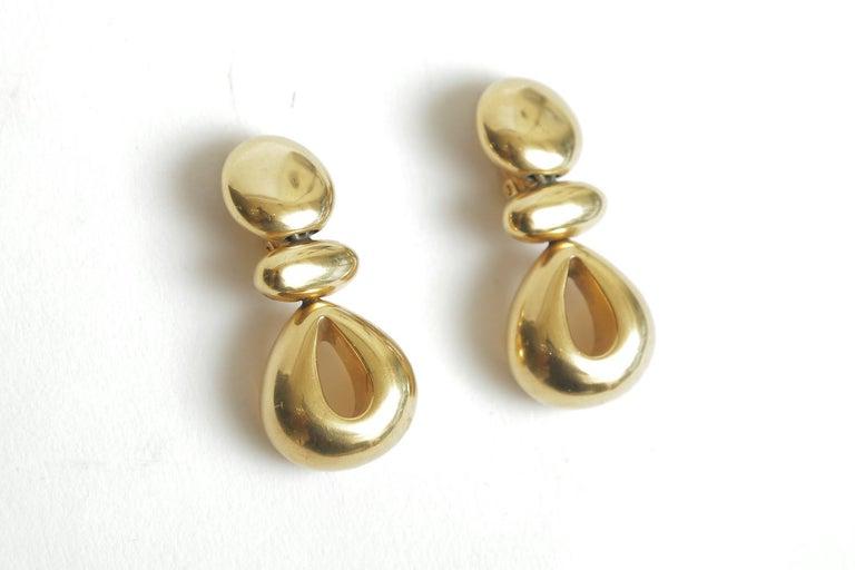 Modern Steven Vaubel Geometric Sculptural Clip On Dangle Earrings Vintage