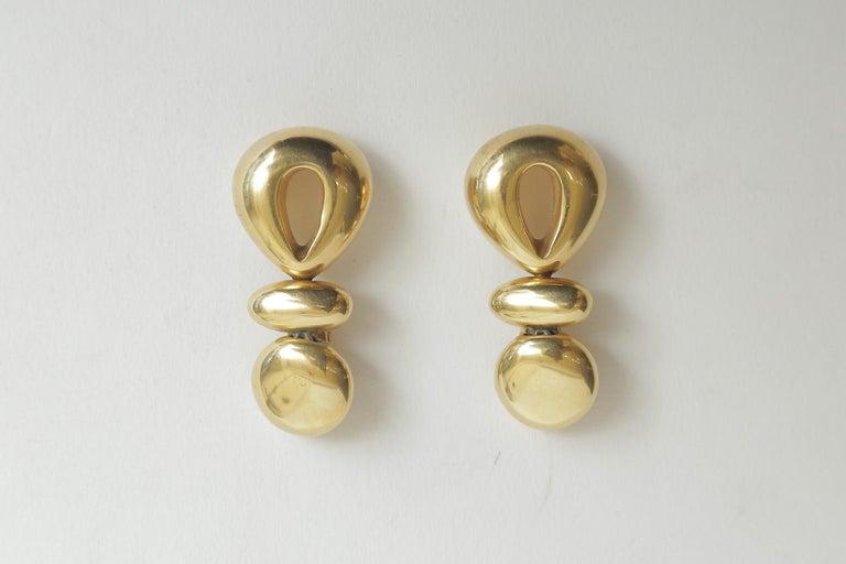 Women's Steven Vaubel Geometric Sculptural Clip On Dangle Earrings Vintage