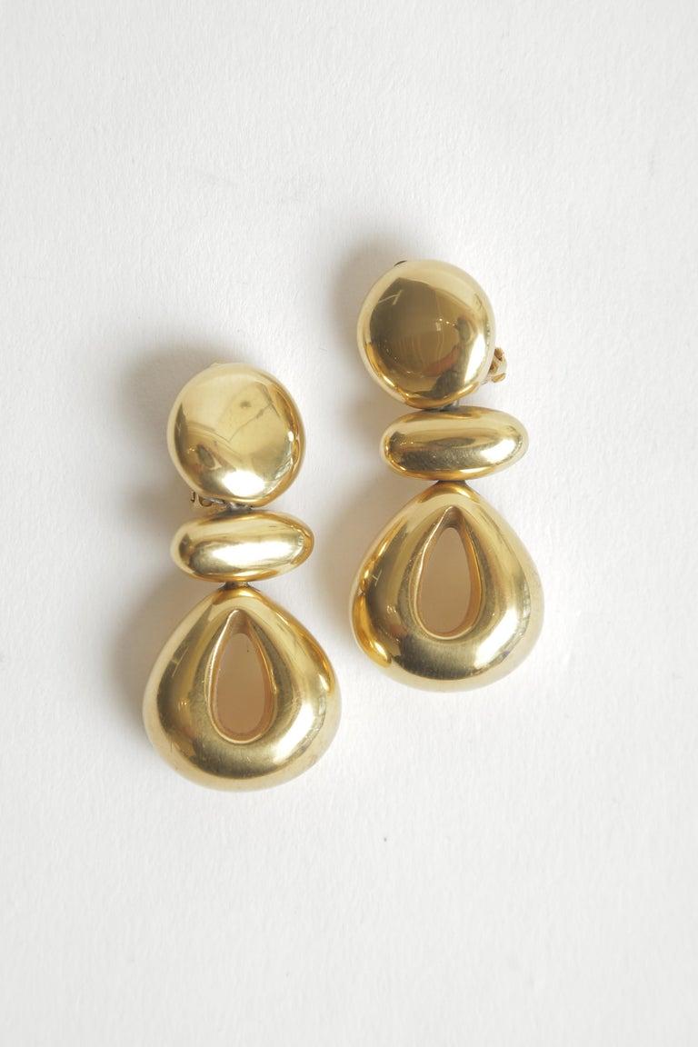 Steven Vaubel Geometric Sculptural Clip On Dangle Earrings Vintage 1