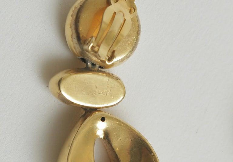 Steven Vaubel Geometric Sculptural Clip On Dangle Earrings Vintage 4