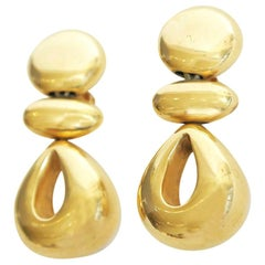 Steven Vaubel Geometric Sculptural Clip On Dangle Earrings Vintage