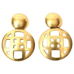 Steven Vaubel Gold Plated Dangle Clip On Earrings Vintage