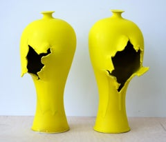 Contemporary Porcelain Sculpture Pair with Bright Yellow Glaze, Ceramic