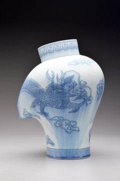 Contemporary Porcelain Sculpture with Cobalt Inlay, Glaze, Dragon Illustration