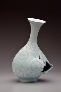 Contemporary Porcelain Ceramic Sculpture with Surface Illustration and Glaze
