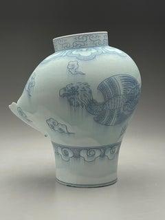"""""""Jar with American Phoenix"""", Contemporary, Porcelain, Sculpture, Phoenix, Cobalt"""
