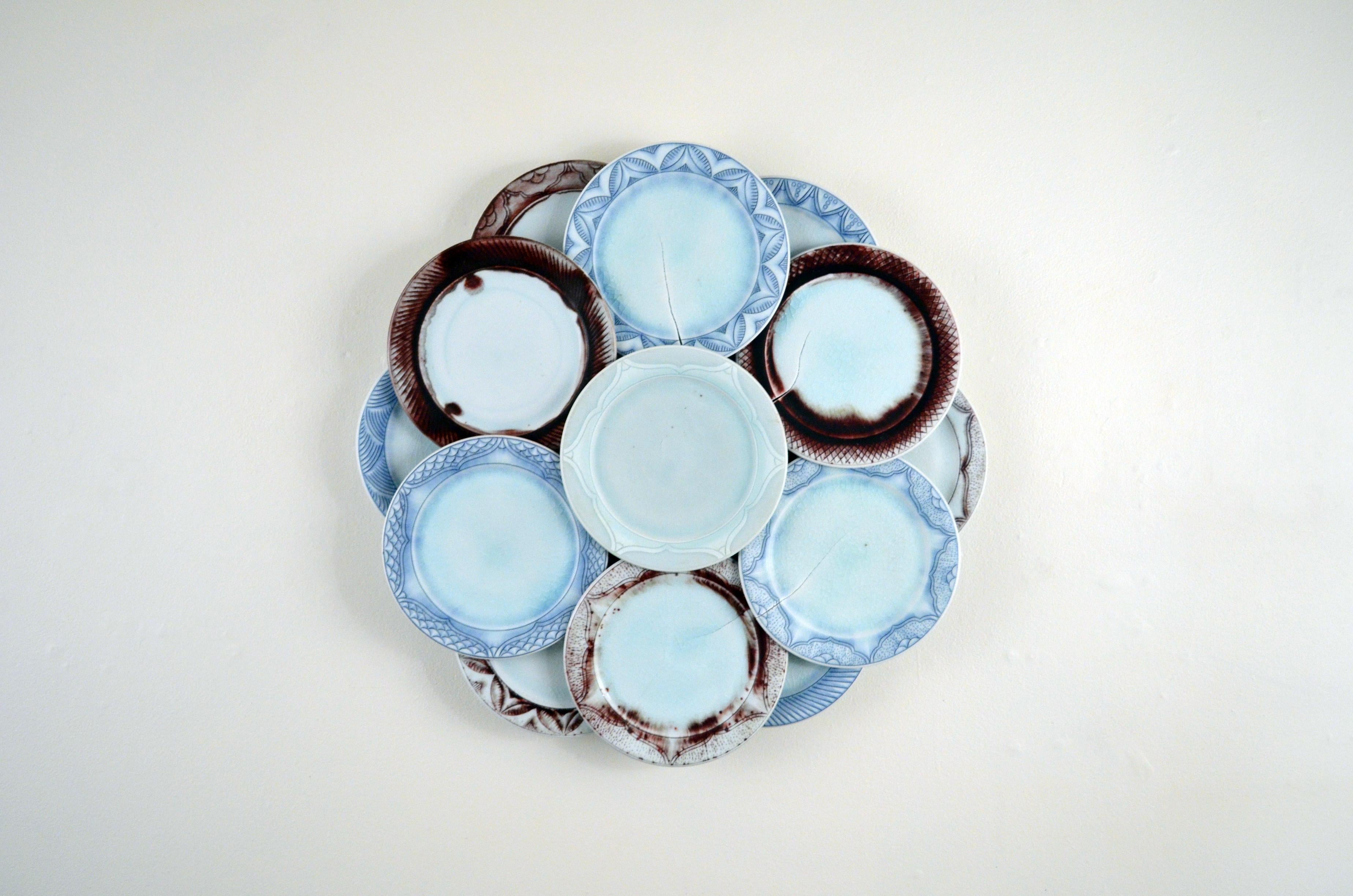 """""""Untitled in Blue, White, and Red"""", Contemporary, Ceramic Sculpture, Wall Mount"""