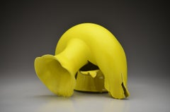 """Vase with Yellow Glaze and Lobed Rim"", Contemporary, Ceramic, Sculpture, Yellow"
