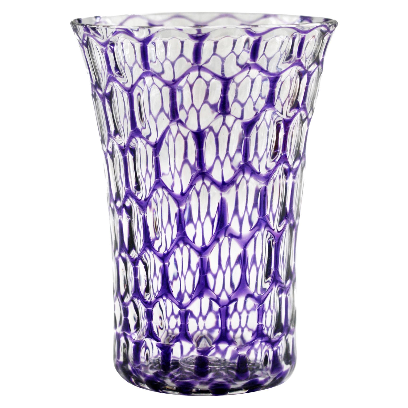 Stevens & Williams Attributed Bucket Shape Purple Flashed Optical Glass Vase