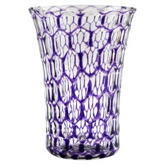 Stevens & Williams Attributed Bucket Shape Purple Flashed Optical Glass Vase