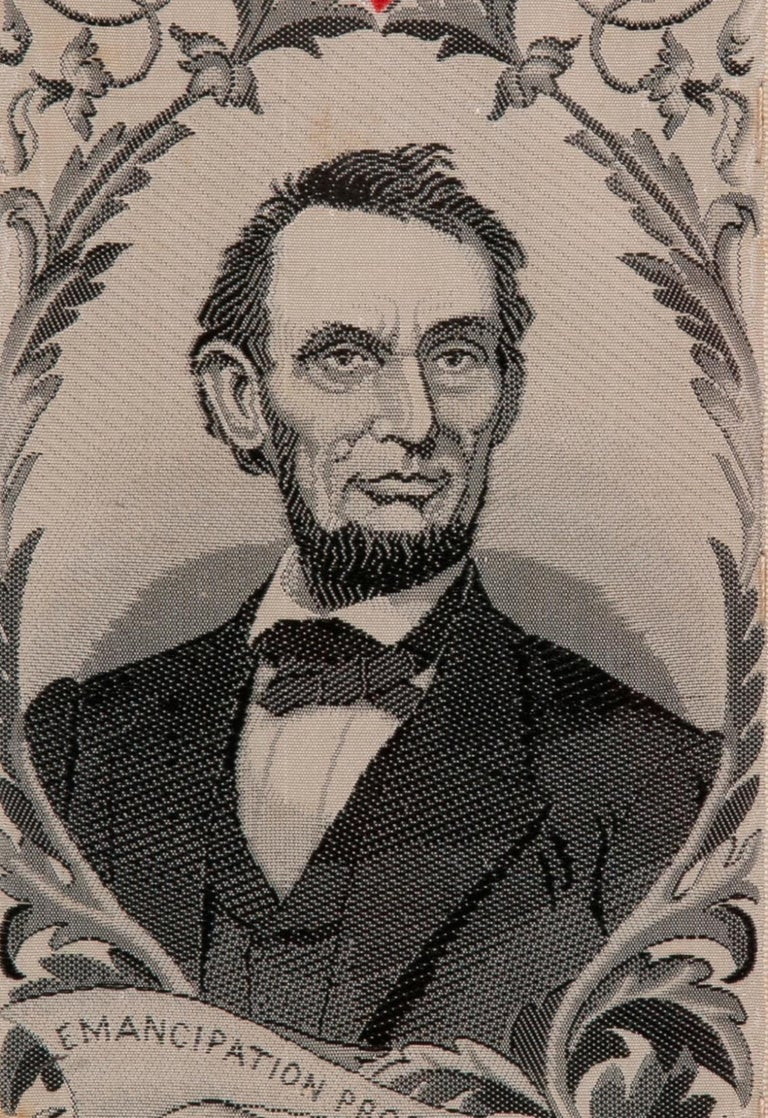 American Stevensgraph Bookmark with Lincoln, Made in New Jersey by Phoenix Mfg For Sale