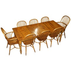 Stewart Linford Burr Yew & Elm Dining Table & 8 Windsor Chairs Handmade, England
