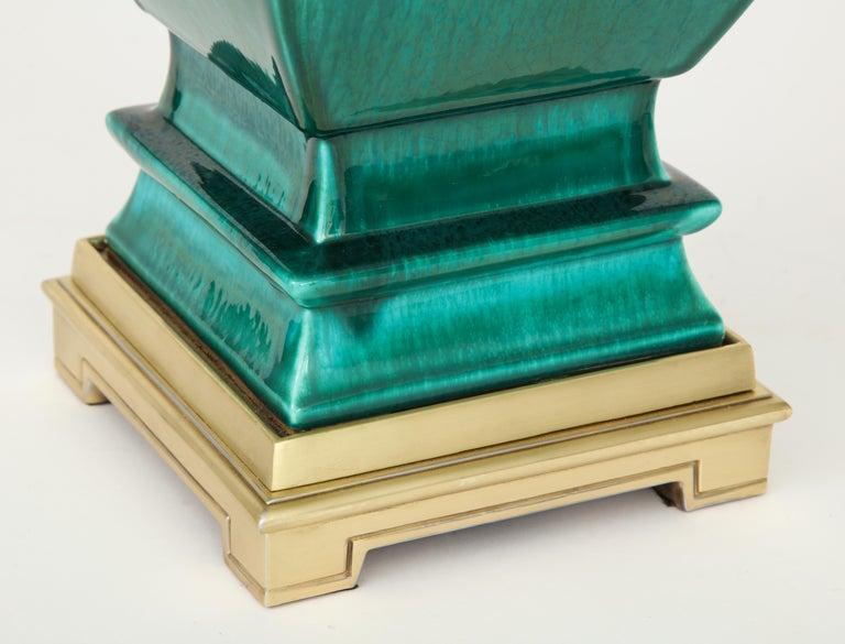 Stffel Emerald Green Porcelain, Brass Lamps For Sale 6