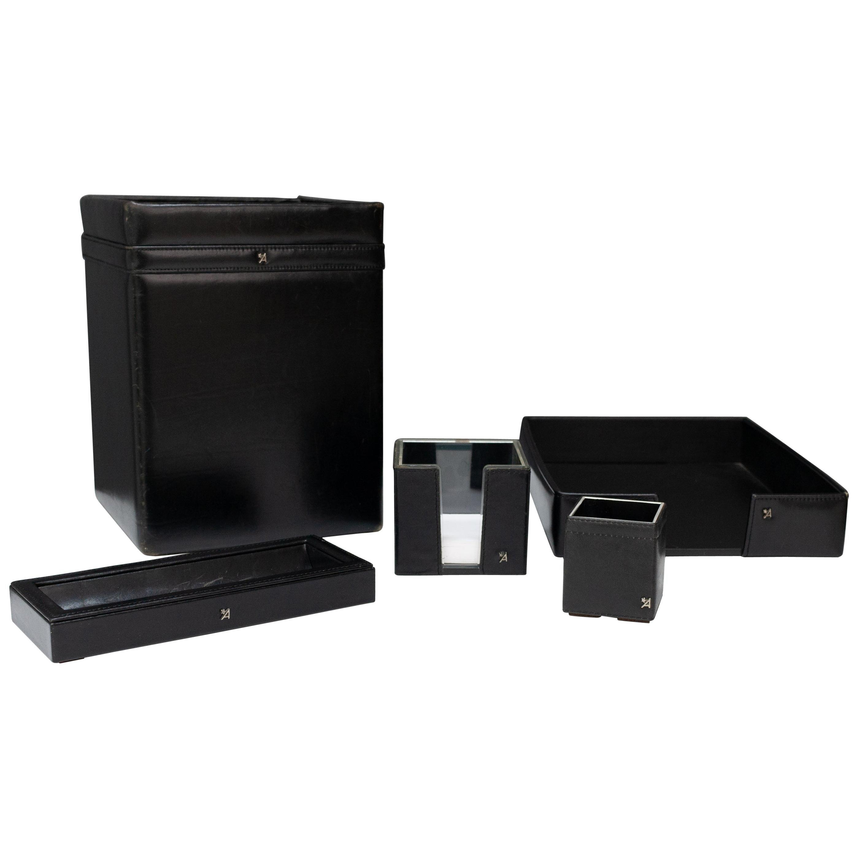 Stich Black Leather Desk Set, 1970s
