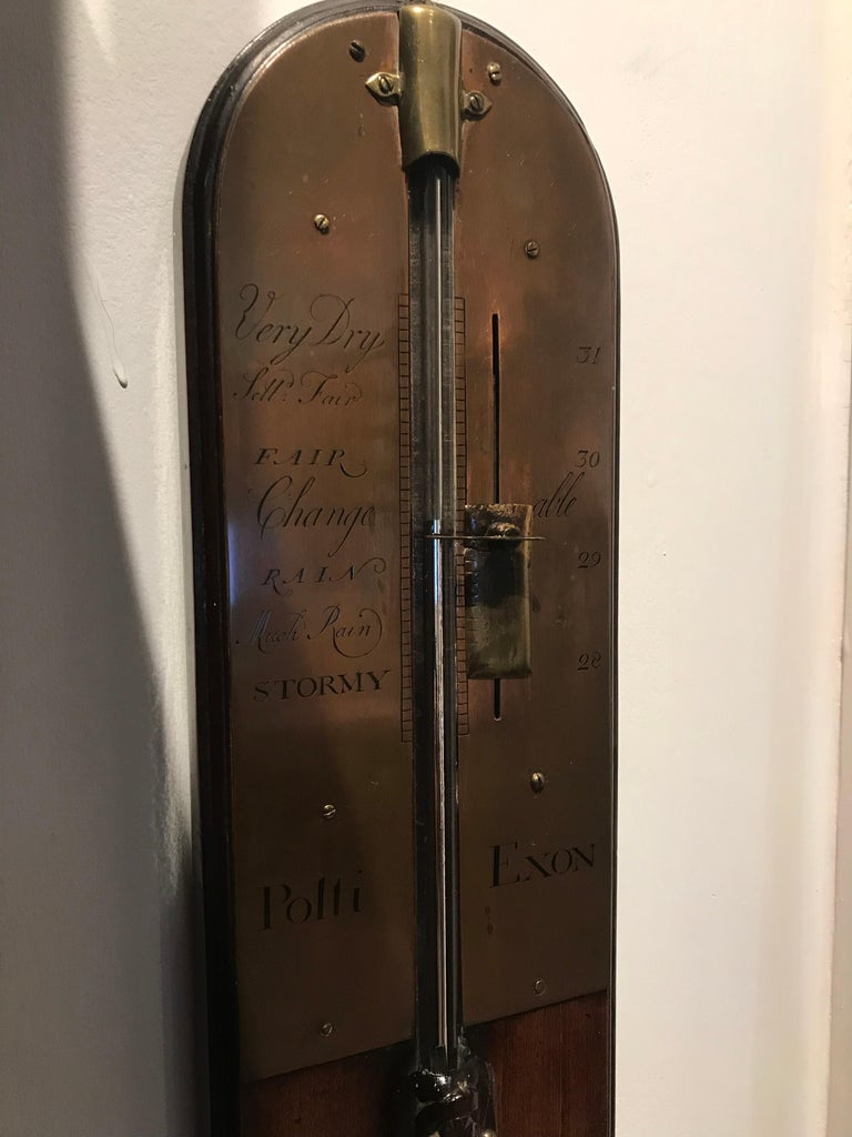18th Century English Antique George II Mahogany Stick Barometer by Polti of Exeter For Sale