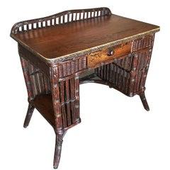 Restored Stick Rattan and Mahogany Secretary Desk with Side Shelving