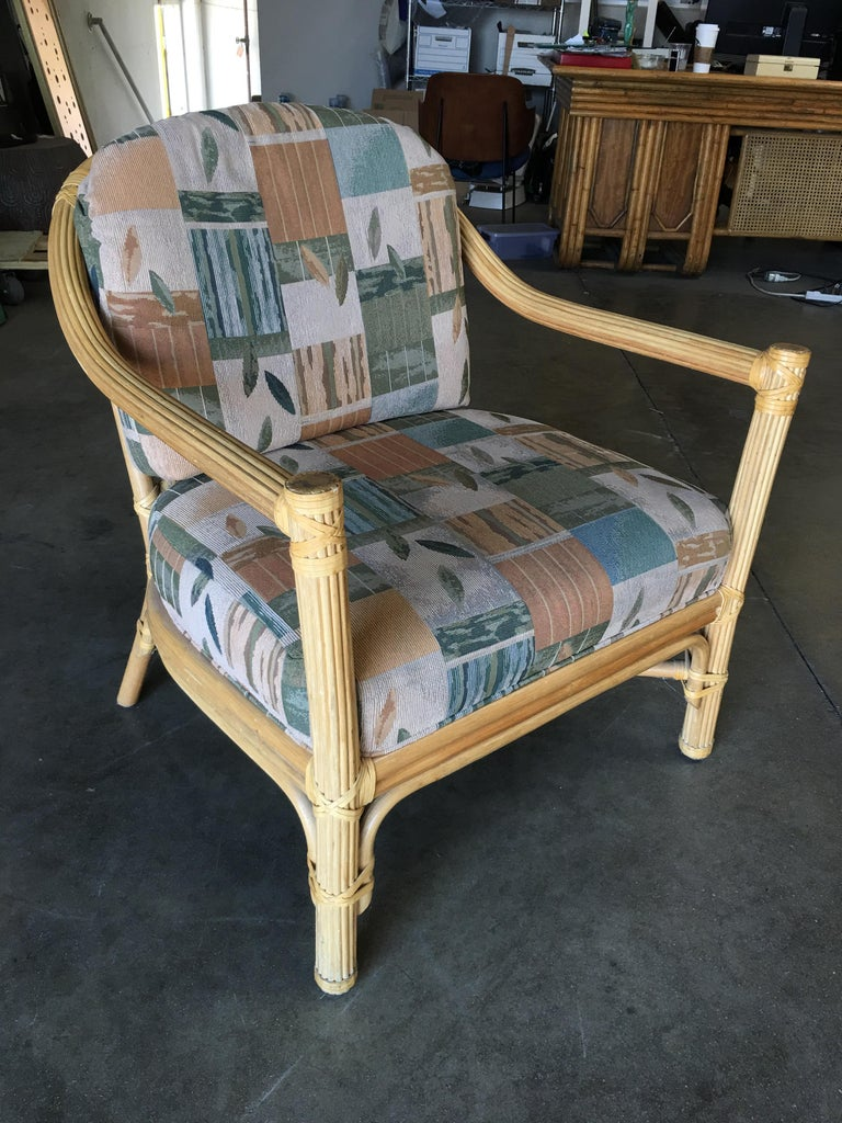 Mid-Century Modern Stick Rattan Lounge Chair with