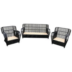 Stick Rattan Porch Set with Chevron Skirt
